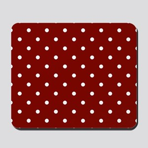 Red, Maroon: Polka Dots Pattern (Small) Mousepad